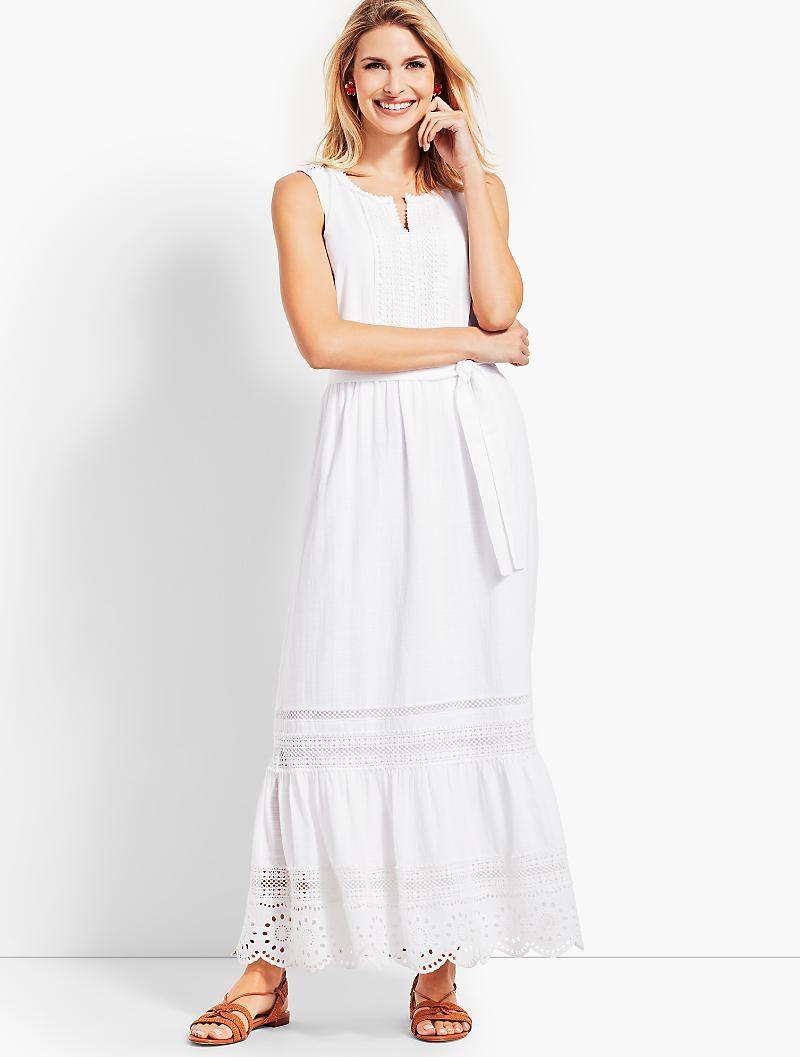 Pintucked Tiered Hem Gauze Maxi Dress Talbots Womens Dresses Fashion Gauze Maxi Dress [ 1057 x 800 Pixel ]