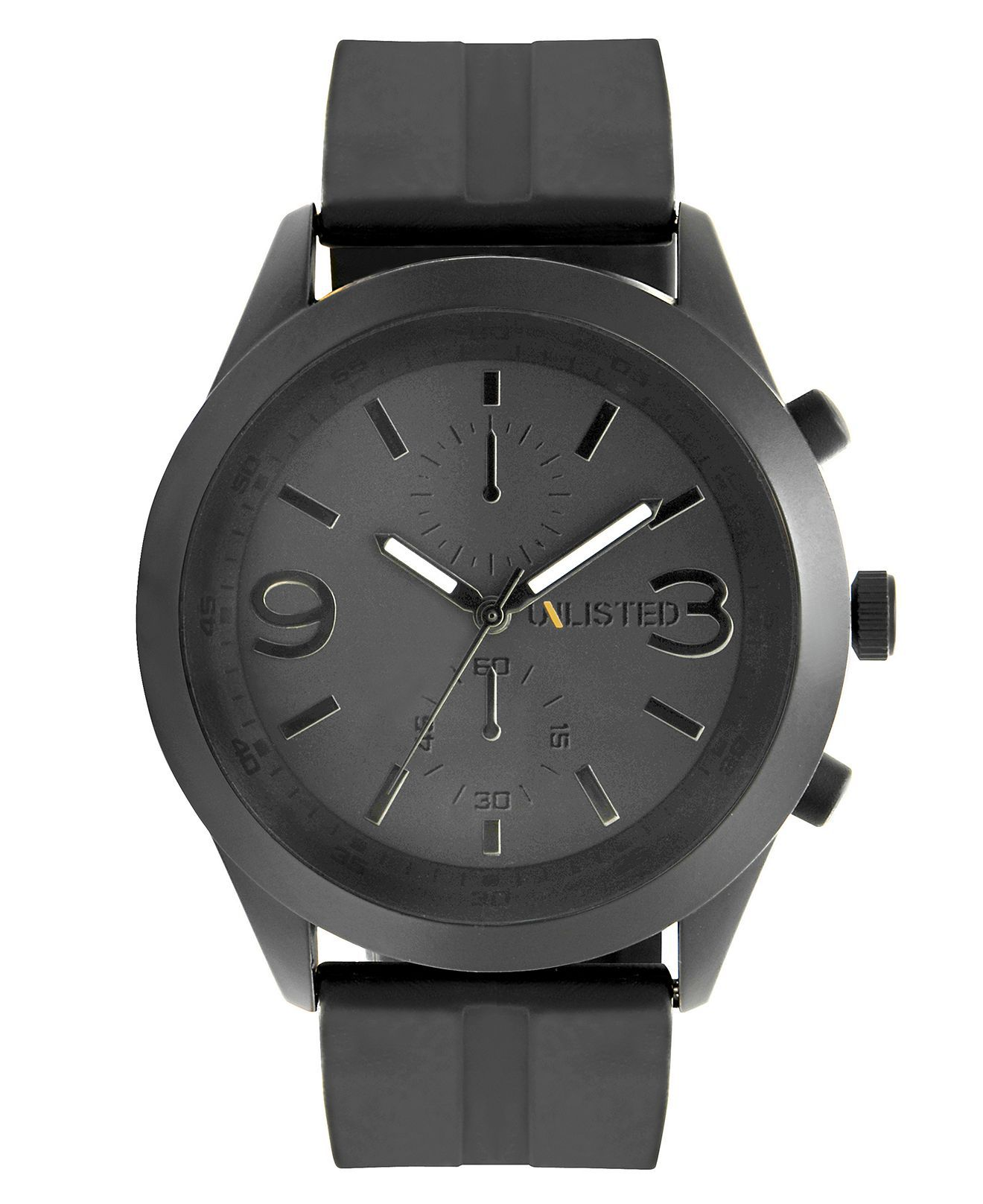 Unlisted Watch, Men's Chronograph Black Silicone Strap