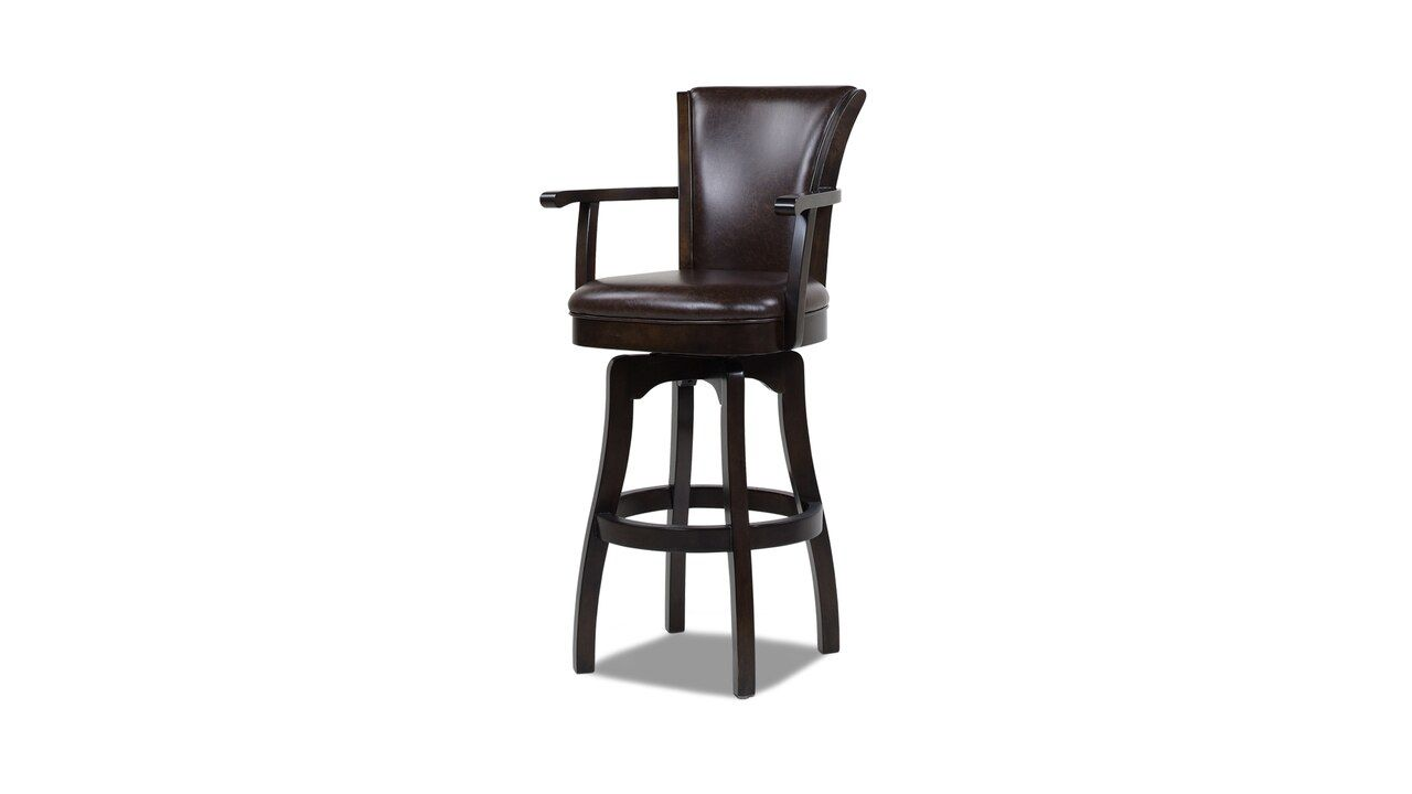 Williams 31 Swivel Bar Stool With Armrests Vintage Brown Faux Leather In 2021 Wood Bar Stools Black Wooden Chairs Leather Swivel Bar Stools