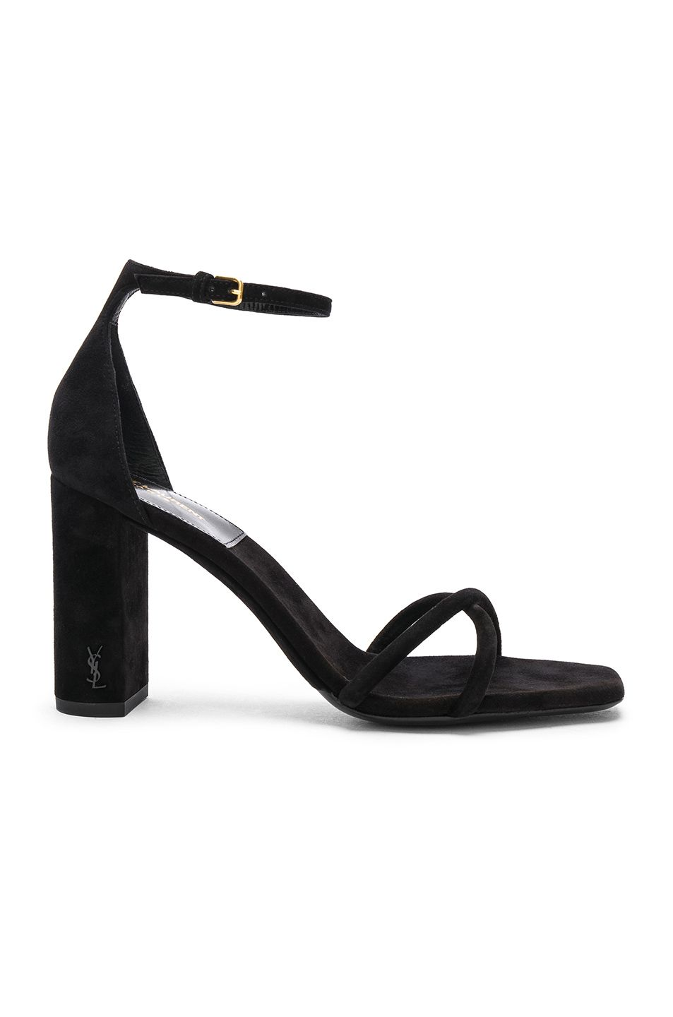 6aa922b8749 Image 1 of Saint Laurent Suede Pin Loulou Ankle Strap Sandals in Black