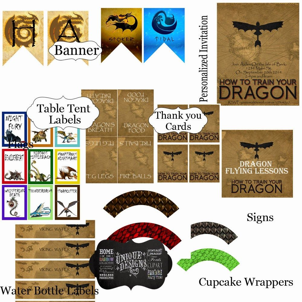 From How To Train Your Dragon Printable Party Set