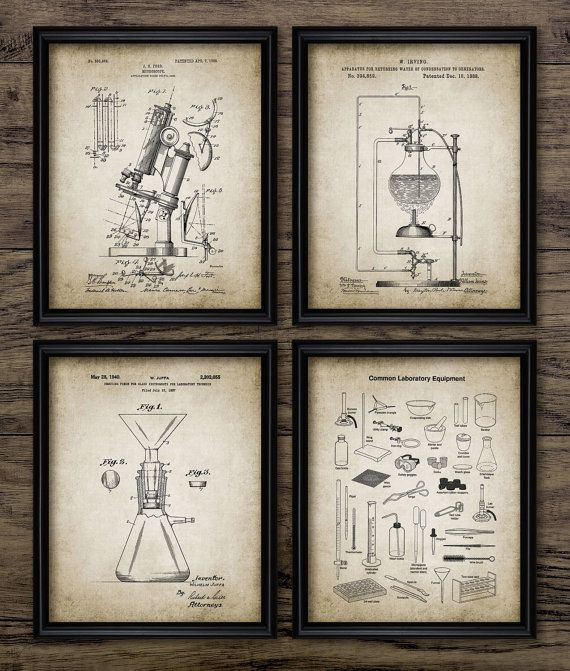 Vintage Science Patent Print Set Of 4 Chemistry Laboratory Student Gift Home Decor Prints 574 Instant