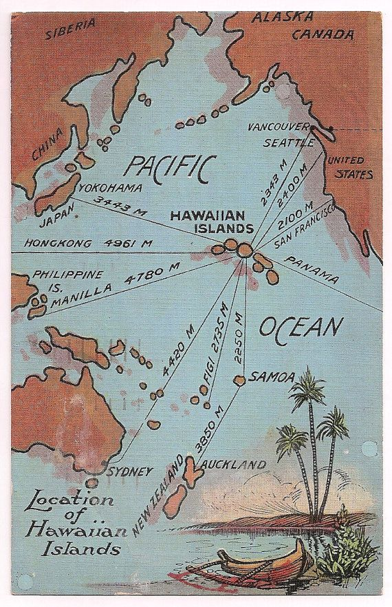 Hawaii Postcard Vintage Hawaii Map Hawaiian Islands Pacific Ocean