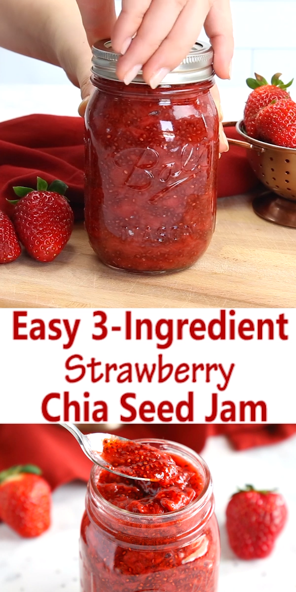 Easy 3-Ingredient Strawberry Chia Seed Jam #chiaseedpudding