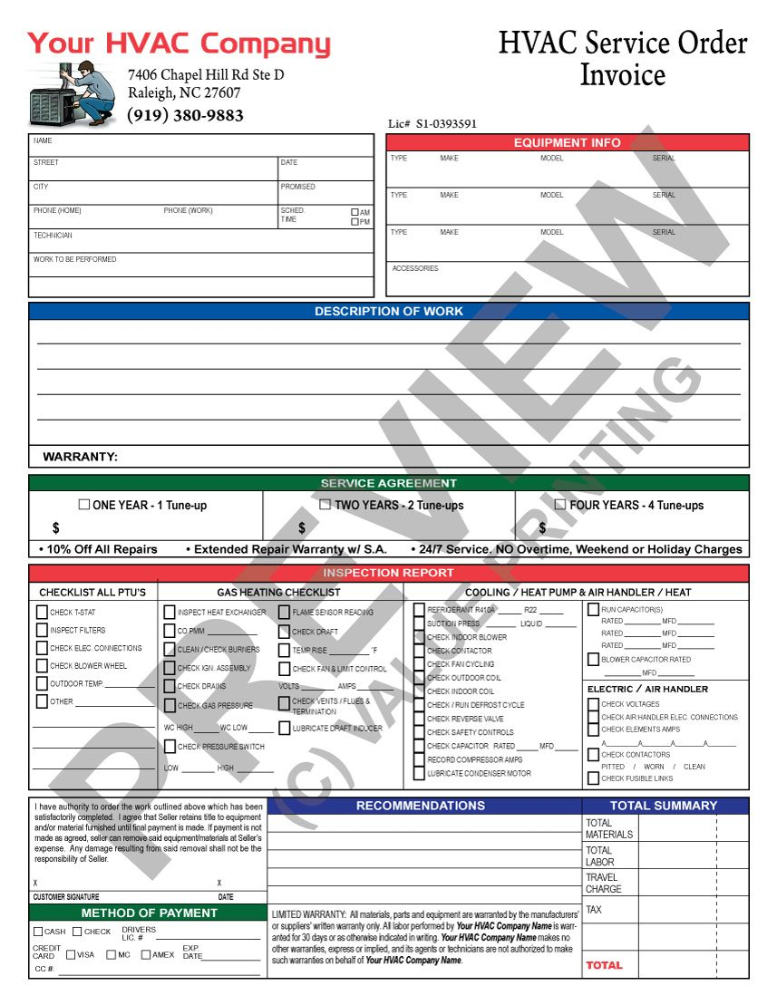 hvac invoice with inspection report and hvac service agreement  call value printing for pricing