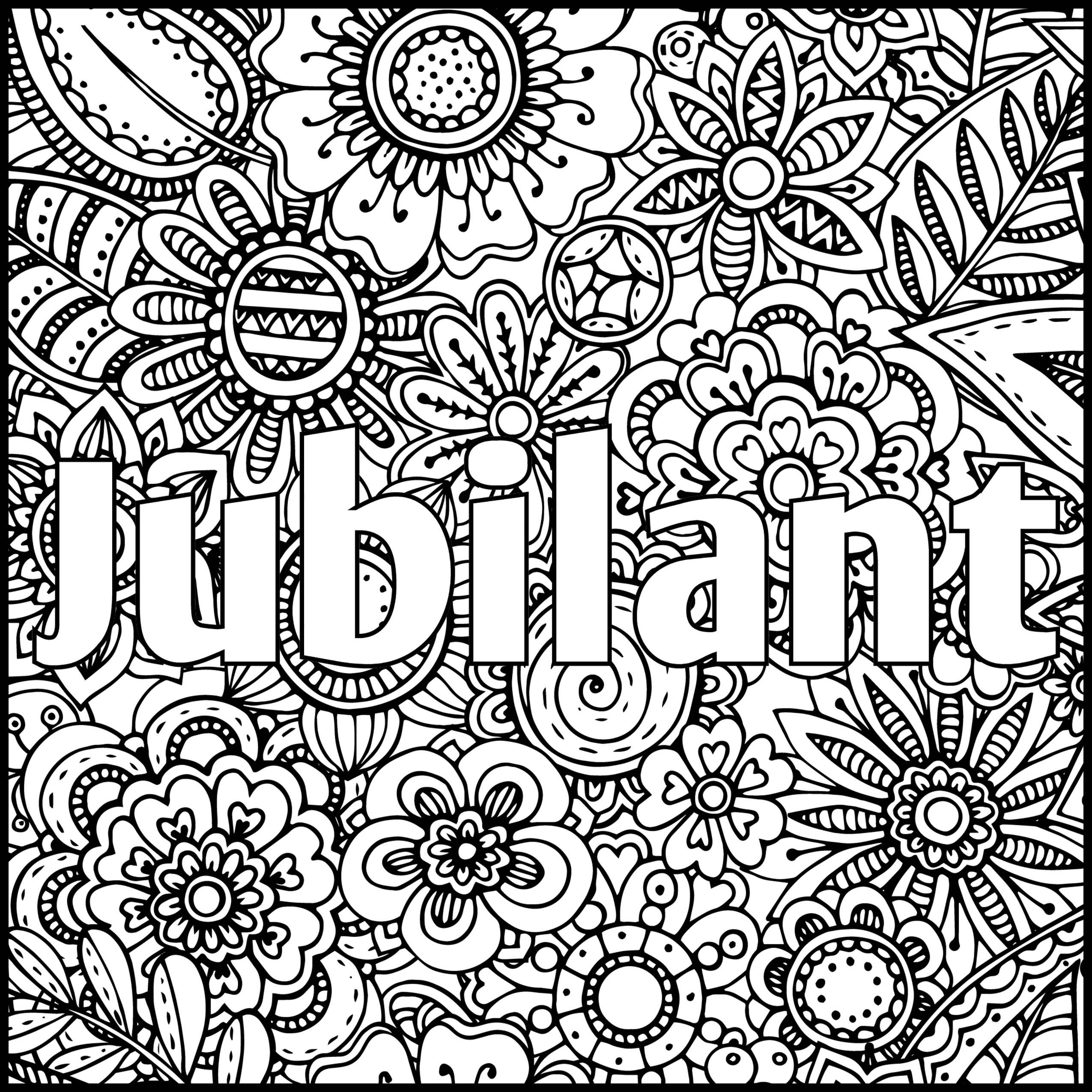 Jubilant Positive Word Coloring Book Printable Coloring Book Words Coloring Book Swear Word Coloring Book Coloring Pages