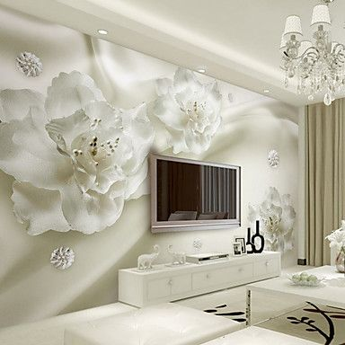 Art Deco Wallpaper For Home Wall Covering Canvas Adhesive Required Mural White Silk Flowers Simple Aesthetic Xl 448 280cm