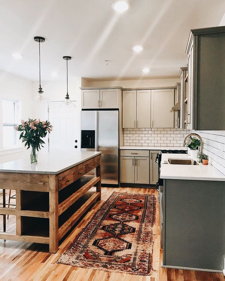 Gray Kitchen Cabinets And Wood Island