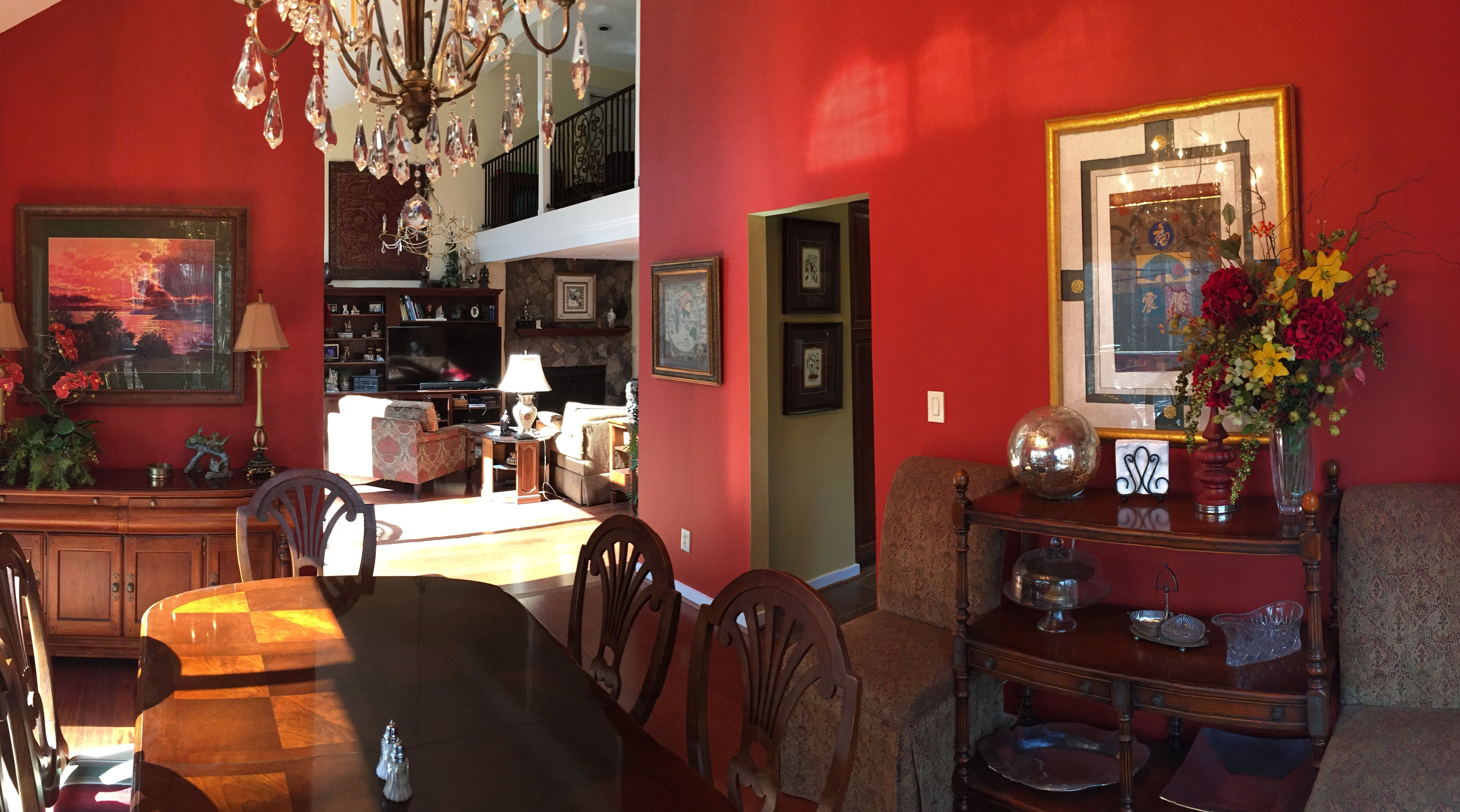 Updated Dining Room By Removing Wallpaper And Painting The Walls Chinese Red Paint Color SW 0057 Sherwin Williams
