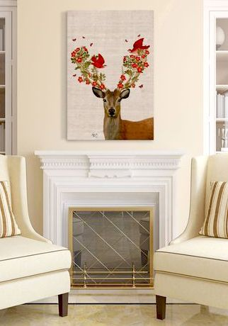 Pretty deer wall art home decor idea affiliate painting flowers birds living room farmhouse decoration ideas also rh pinterest
