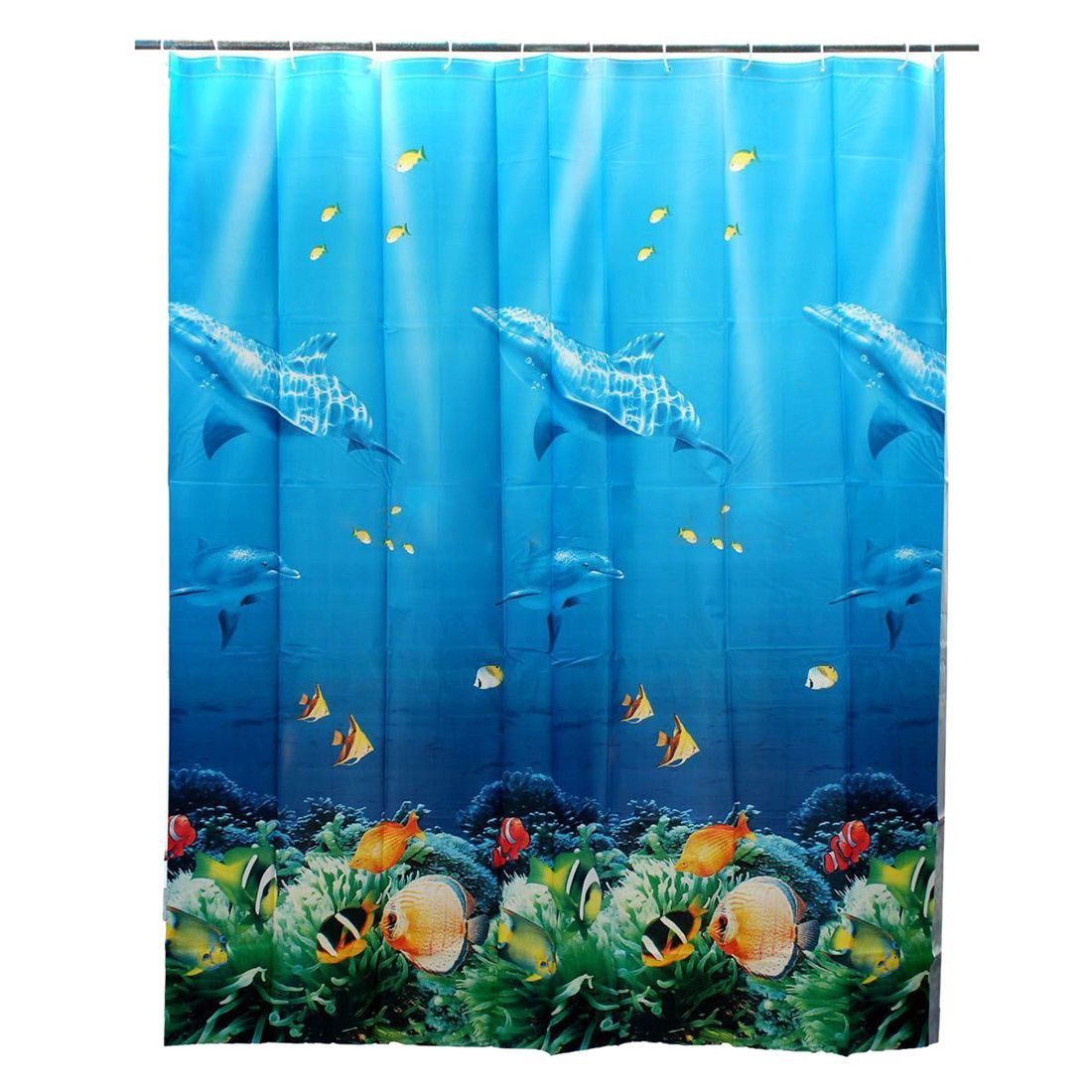 180X180Cm Tropical Beach Sea Dolphin Fish Ocean Color Shower Curtain W Hooks Y4F