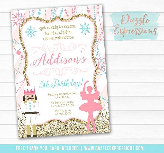 Printable Ballerina And Nutcracker Birthday Invitation