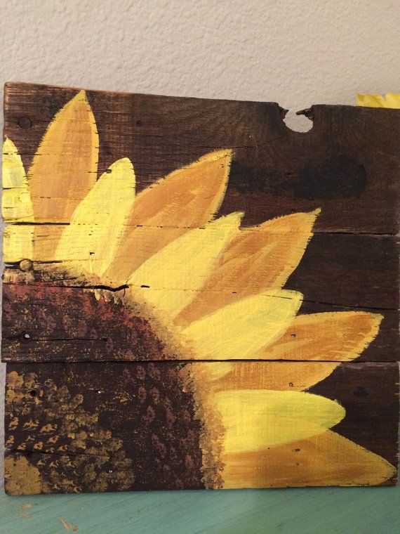 wood pallet sign hand painted sunflower pallet art bathroom pinterest holz malen und. Black Bedroom Furniture Sets. Home Design Ideas