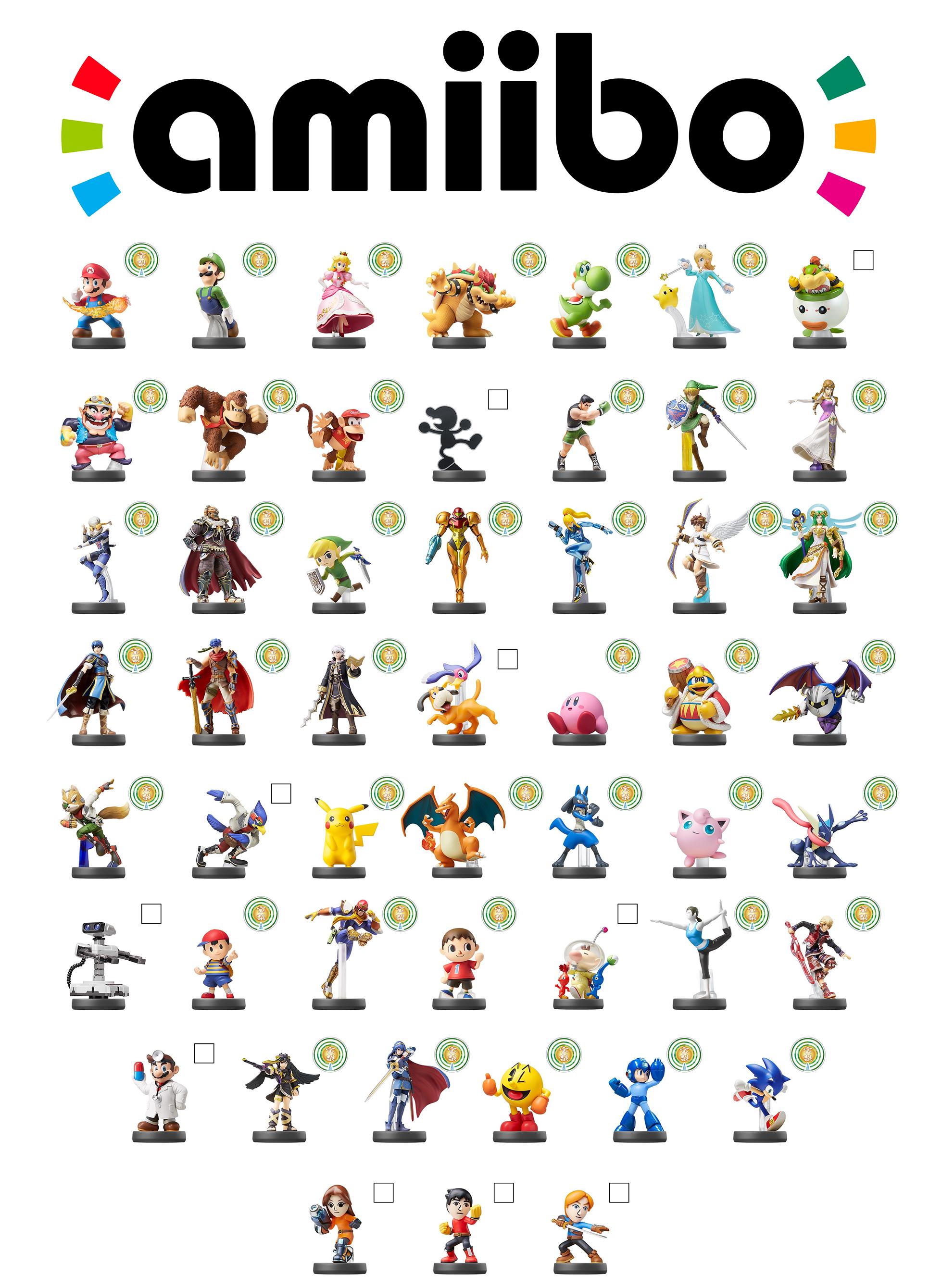 Smash Bros Amiibo Checklist Smash Bros Amiibo Super Smash Bros