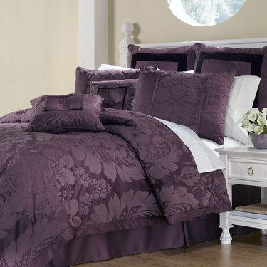 Lorenzo Damask 8 Pc Comforter Bed Set The Loft Purple