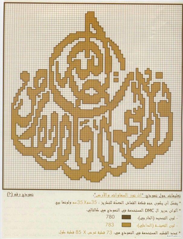 Cross Stitch تطريز الله نور السموات و الارض Cross Stitch House Cross Stitch Alphabet Cross Stitching