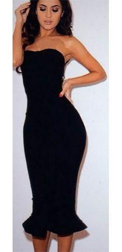 331452296119e Black Strapless Fishtail Sexy Zip Back Bodycon Midi Dress - Sold Out ...