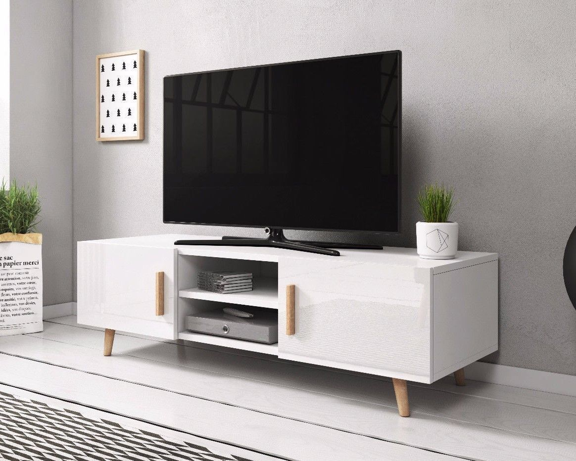Ebay Meuble Tv Details About Tv Unit White Gloss Doors White Body Tv Stand
