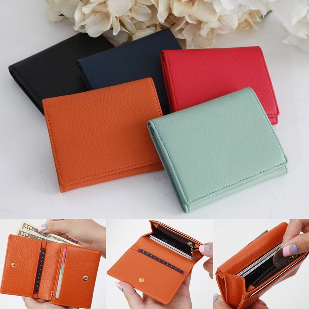 79da59c19ab7 Women Small Mini Bifold Wallet Leather Purse Credit Card Bill Zip ...