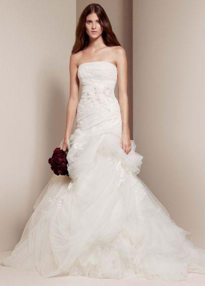 New White by Vera Wang Floral Organza Wedding Dress VW