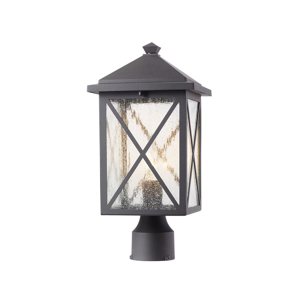 Home Decorators Collection Wythe 1 Light Outdoor Black Post Light With Seeded Glass 302360910 Post Lights Solar Post Lights Outdoor Lighting