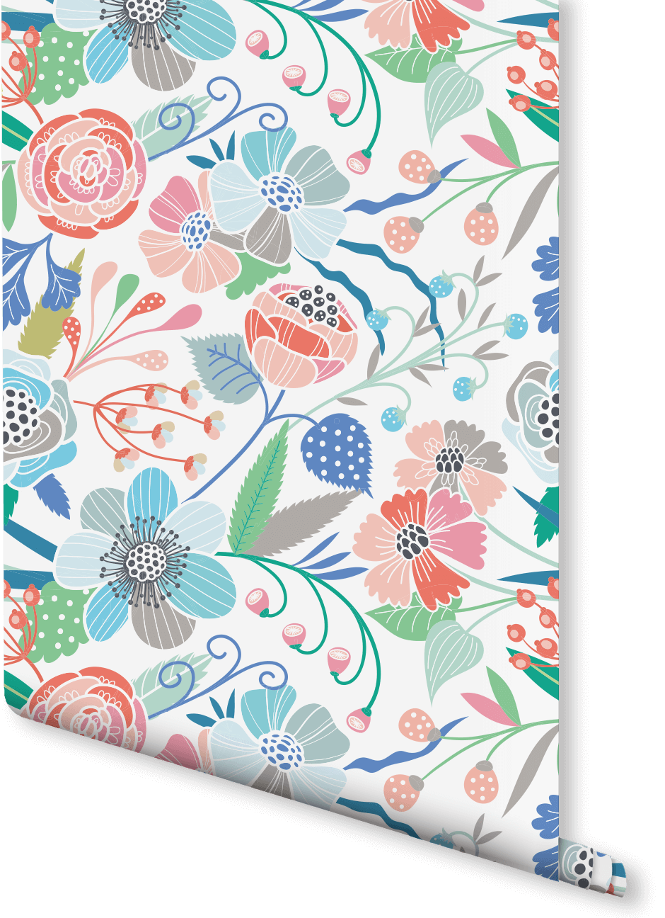 Get Lost Amongst A Meadow Of Pastel Coloured Flowers With This Floral  Wallpaper Design. The Multi Coloured Flowers Look Vibrant Offset Against  The Plain ...