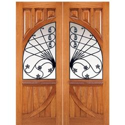 AAW Inc. 158 Murano Old World Solid Mahogany Double Entry Doors with Forged Iron