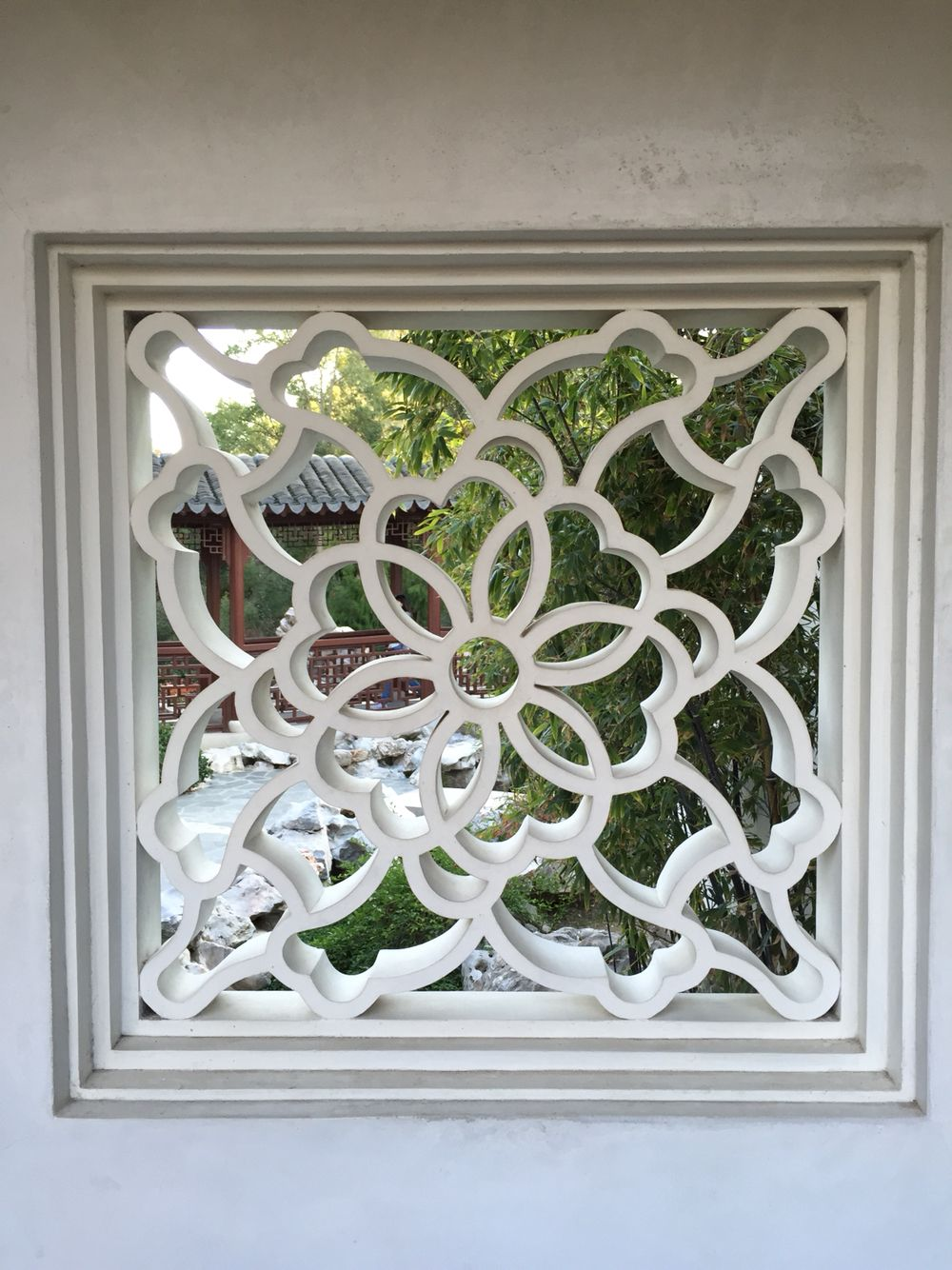 Geometric window Chinese garden