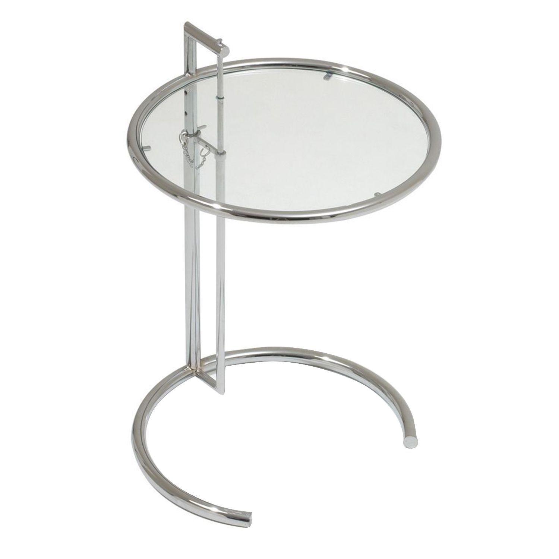 Hhenverstellbarer Couchtisch Design Klassiker Verchromter Stahl Und Transparentes Glas