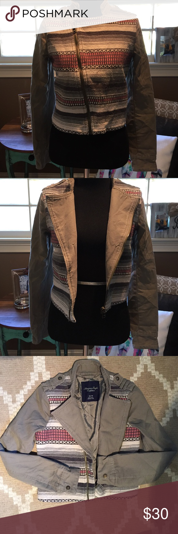 American Eagle Outfitters Olive green jacket with front tribal detail.  Super cute with jeans or black pants!  Great staple piece for fall! American Eagle Outfitters Jackets & Coats