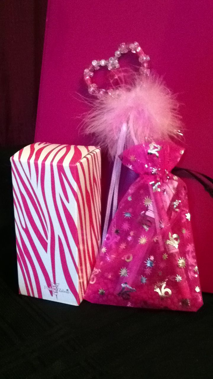 Sweet 16 favor. Pink Zebra sprinkles, lip gloss and a girly pen ...