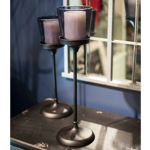 DARK BLUE GLASS CANDLE HOLDER ON STAND... Check out our 4th of July sale: http://bit.ly/VnU4mP