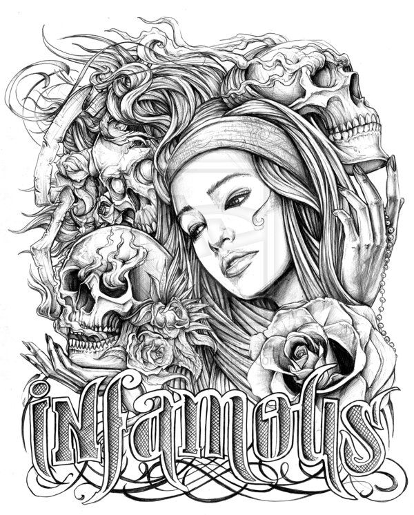 Chicano Art Coloring Pages infamous by ESIC on deviantART Coloring pages colouring
