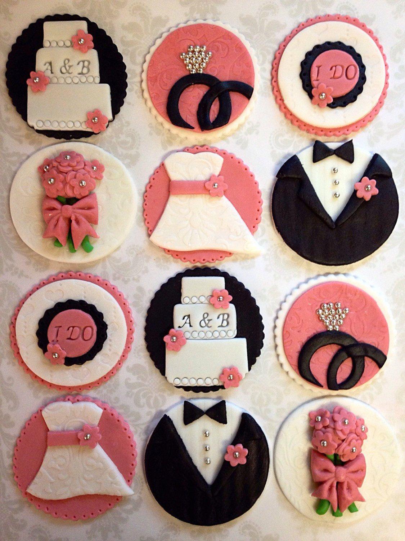 12 Edible Fondant Engagement Bridal Shower Wedding Bride And Groom Cupcake Toppers Wedding Cupcake Toppers Bridal Shower Cupcakes Wedding Cupcakes