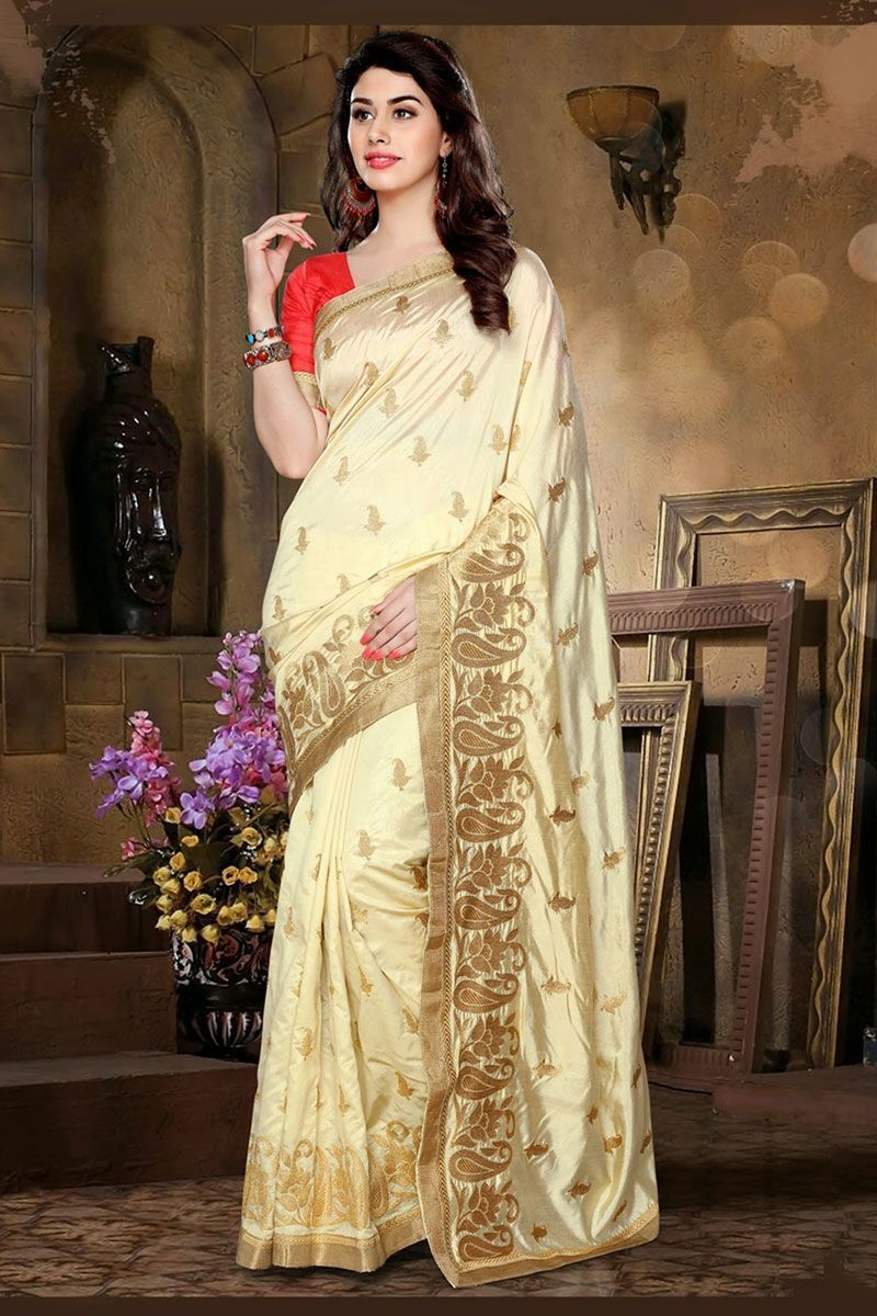 chochlatee color pink blouse embroidery work partywear silk cream white shade color embroidery work partywear silk saree only rs 1500