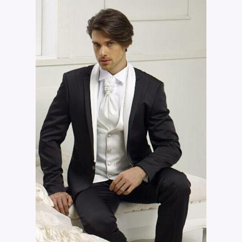 3 Piece black Mens Dinner Party Prom Suits 2018 Groom Tuxedo ...