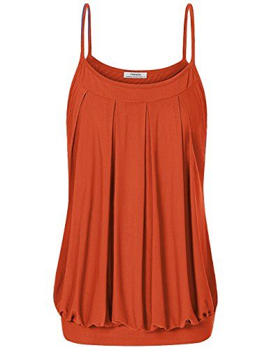 2742c33c4d479 Youtalia Womens Summer Double Layer Pleated Front Spaghetti Strap Camisole  Tank
