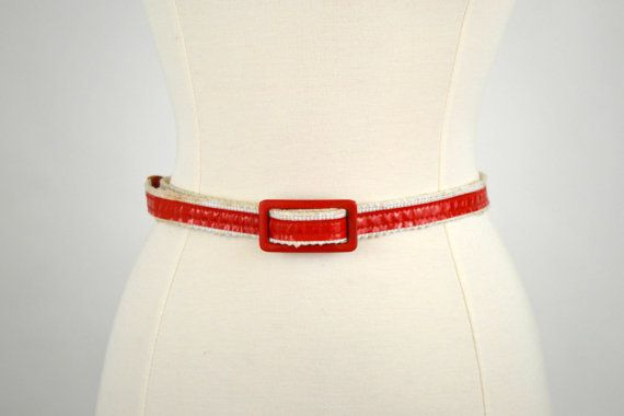 1980s Red and White Belt by Astor, Skinny Belt, 80s Fashion, Vinyl, Woven Belt