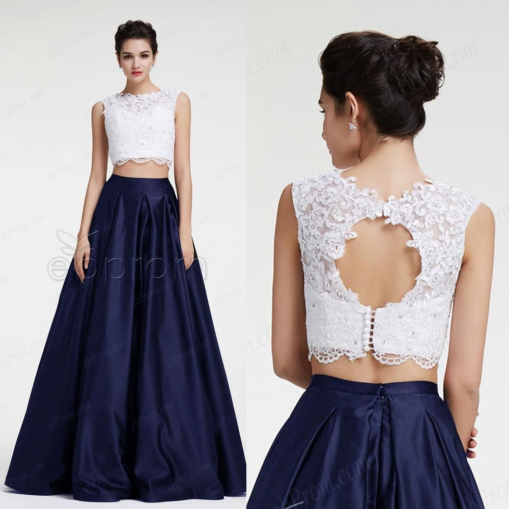 Navy blue two piece ball gown prom dresses quinceanera dresses