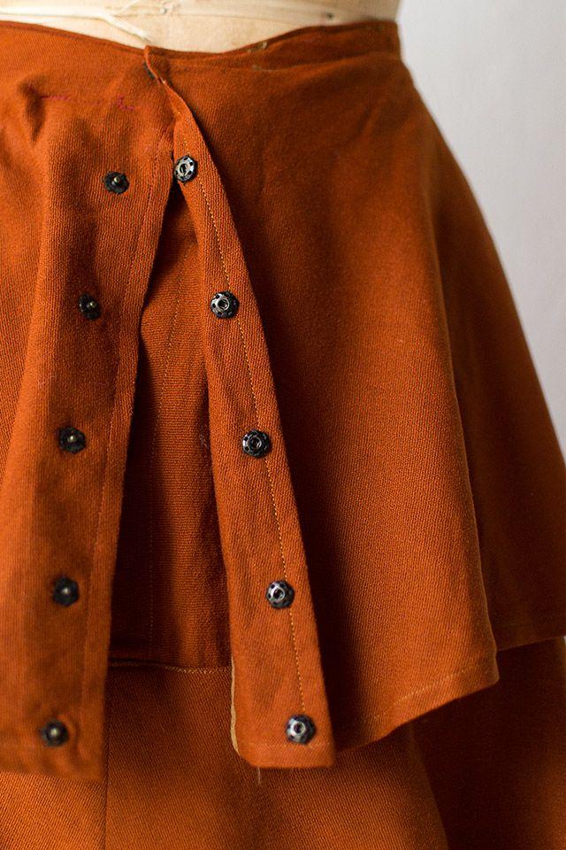 vintage 1900s Edwardian orange tiered wool skirt