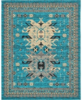 Bridgeport Home Charvi Chr1 Turquoise 8 X 10 Area Rug Rugs