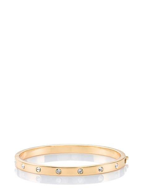 set in stone stone hinged bangle, clear/gold