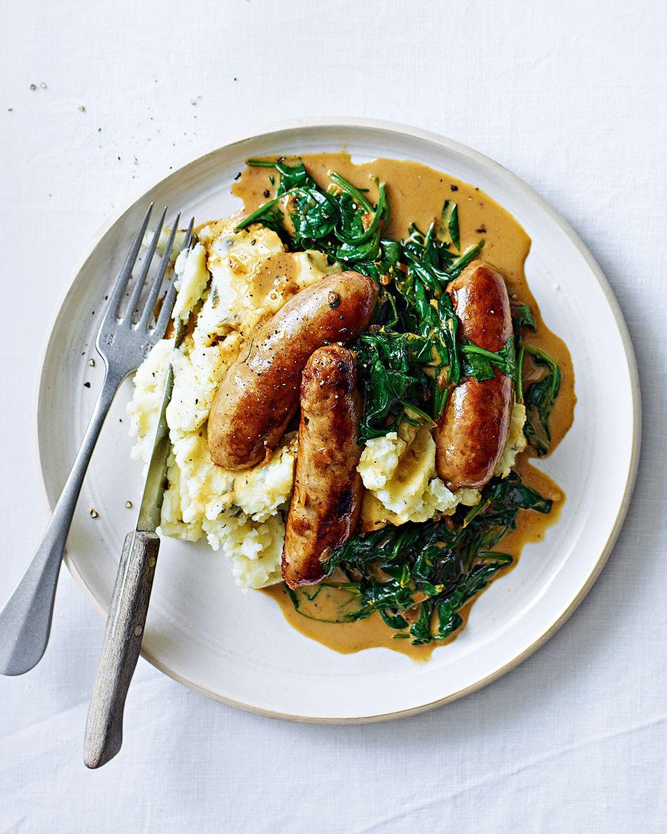 Sausages With Creamy Spinach Sauce And Garlic And Caper Mash Recipe Delicious Magazine Recipe Recipes Creamy Spinach Sauce Food