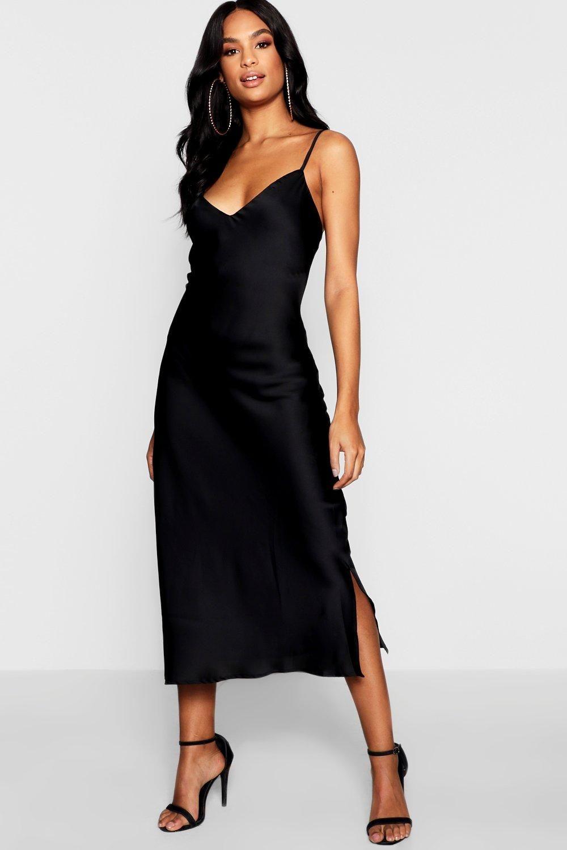 tall spaghettiträger kleid aus satin | boohoo | slip dress
