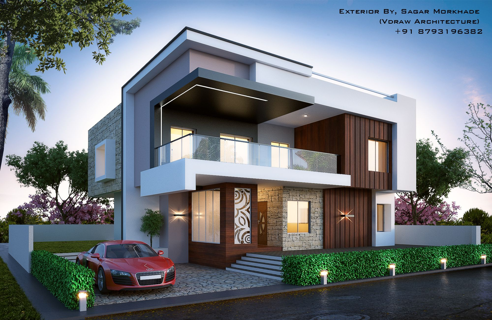 Modern Bungalow Exterior By, Sagar Morkhade (Vdraw