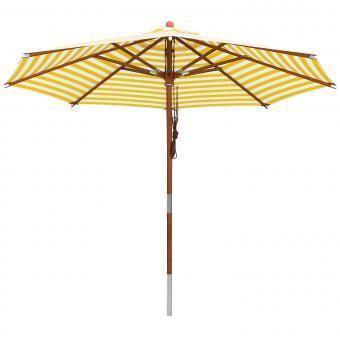 Anndora Sonnenschirm Gartenschirm Holzschirm 3m Rund Gelb Weiss Gestreift Sonnenschirm Gartenschirm Sonnenschirm Holz