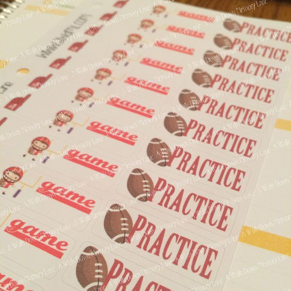 Football Practice Game Planner Stickers