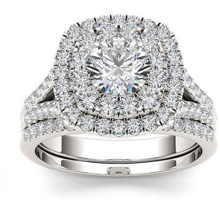 Imperial 2 Carat T W Diamond Double Halo 10kt White Gold Engagement Ring Halo Diamond Engagement Ring White Gold Engagement Rings Bridesmaid Jewelry Sets