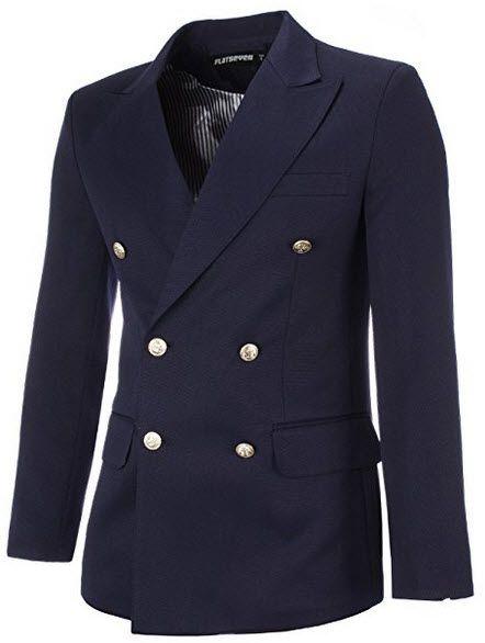 FLATSEVEN Mens Designer Double Breasted Peaked Lapel Blazer Jacket