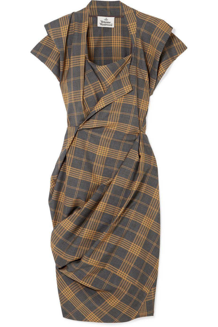 Vivienne Westwood  Grand Fond draped tartan wool dress  NET-A